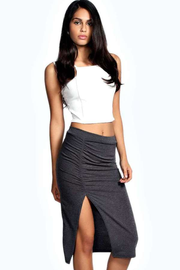 Boohoo Neve Ruched Side Split Midi Skirt | Where to buy & how to wear