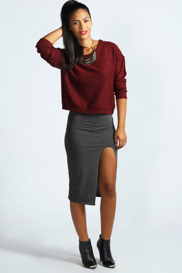 Boohoo Rioja Front Thigh Split Midi Skirt | Where to buy & how to wear