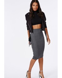 Missguided Ribbed Bodycon Midi Skirt Grey | Where to buy & how to wear
