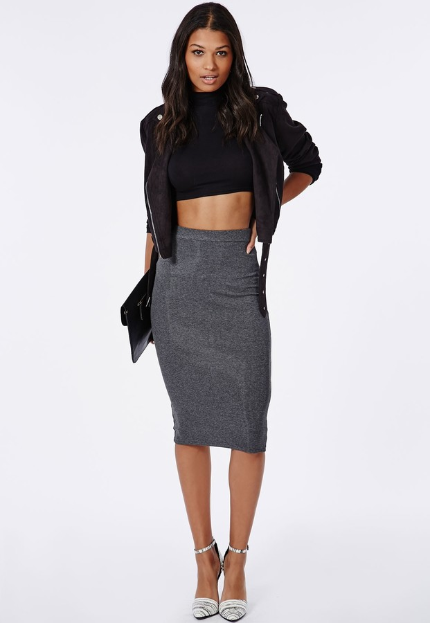 12ec88f87db9 Missguided Ribbed Bodycon Midi Skirt Grey, $20 | Missguided ...
