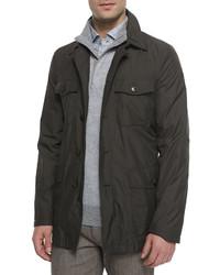 Microfiber military style safari jacket green medium 592226