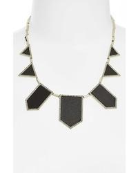 House of Harlow 1960 Pave Leather Bib Necklace Black Smoky Grey Silver