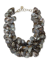 Nest jewelry gray mother of pearl cluster necklace medium 164327