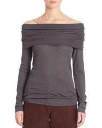 Brunello Cucinelli Wool Jersey Off The Shoulder Top
