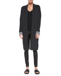 Theory Armelle Evian Stretch Cardigan Dark Charcoallight Charcoal