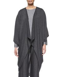 eskandar Jersey Drape Front Cocoon Sweater Charcoal