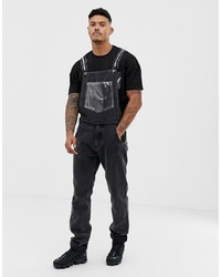 Liquor N Poker Dungarees With Vinyl Pocket