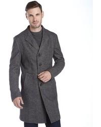 Giorgio Armani Armani Grey Herringbone Wool Button Front Overcoat