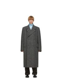 Raf Simons Black And Grey Double Breasted Big Coat