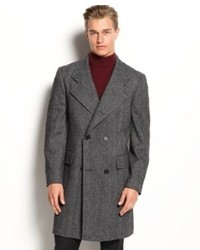 Calvin Klein Coat Merlow Double Breasted Herringbone Wool Blend Overcoat