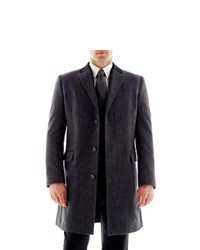 Claiborne Contrast Collar Topcoat Charcoal Hb