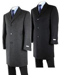 Calvin Klein Coat Solid Plaza Wool Blend Overcoat Black Charcoal 7cu