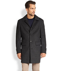 Saks Fifth Avenue Collection Herringbone Wool Overcoat