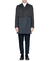 Nobrand Felt Upper Panel Wool Double Breasted Coat