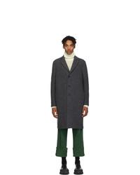 Harris Wharf London Grey Boiled Virgin Wool Overcoat