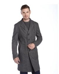 Armani Grey Herringbone Wool Button Front Overcoat