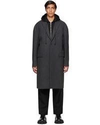 Juun.J Grey Wool Detachable Hood Long Coat