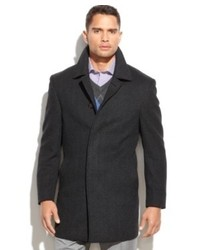 Lauren Ralph Lauren Lauren By Ralph Lauren Coat Jake Grey Herringbone Wool Blend Overcoat