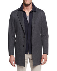 Loro Piana Parkway Tweed Overcoat Gray