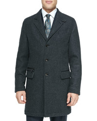 Ermenegildo Zegna Single Breasted Overcoat Charcoal