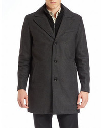 Kenneth Cole New York Single Breasted Wool Blend Coat