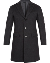 Brioni Single Breasted Wool Blend Overcoat