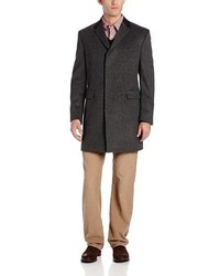 Tommy Hilfiger Baltic 36 Inch Fly Front Topcoat With Suede Collar Top Coat