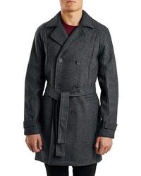 Topman Birds Eye Wool Blend Trench Coat
