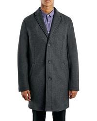 Topman Charcoal Wool Blend Topcoat