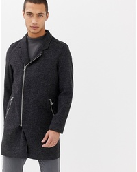 Lindbergh Wool Zip Through Overcoat In Grey