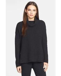 Eileen Fisher Merino Yak Wool Turtleneck Sweater Charcoal X Small