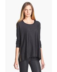 Eileen Fisher Sequin Trim Merino Sweater Charcoal Medium