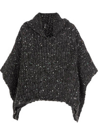 Sequined alpaca blend turtleneck sweater dark gray medium 5173036