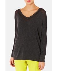 Topshop Sheer Panel V Neck Sweater Charcoal 10