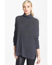 Trouve Turtleneck Drape Sweater Heather Charcoal Medium