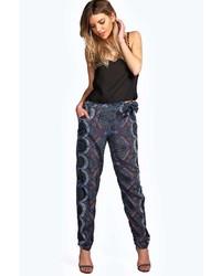 Boohoo Naomi Tie Belted Dark Paisley Trousers