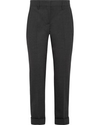 Prada Cropped Stretch Wool Slim Leg Pants Gray