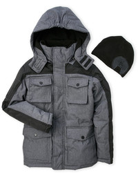 Weatherproof Hooded Jacket Beanie Set