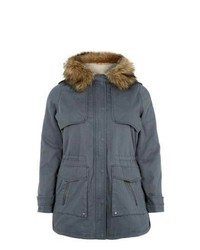 New Look Inspire Grey Faux Fur Trim Hooded Parka