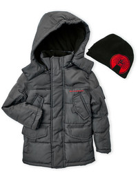 Weatherproof Two Piece Hooded Puffer Jacket Beanie Set