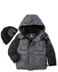 Weatherproof Two Piece Grey Hooded Jacket Beanie Set