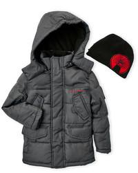 Weatherproof Two Piece Hooded Puffer Jacket Beanie Set