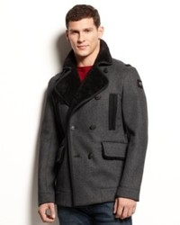 Armani Jeans Faux Shearling Trimmed Peacoat