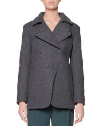 Giorgio Armani Asymmetric 4 Button Pea Coat Charcoal