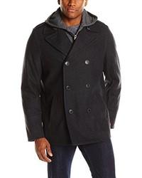 Levi's Bigtall Wool Blend Peacoat With Fleece Bib And Hood