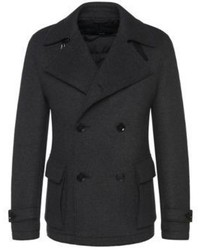 Hugo Boss Callun Wool Pea Coat 40r Charcoal