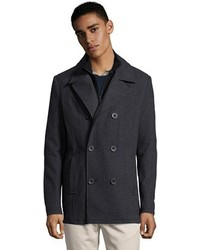 Kenneth Cole Reaction Charcoal Wool Tweed Double Breasted Peacoat