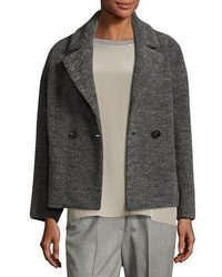 Peserico Cropped Wool Blend Pea Coat Charcoal