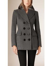 Burberry Fur Collar Wool Cashmere Pea Coat