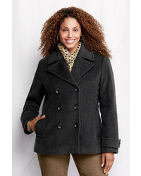 Lands' End Plus Size Luxe Wool Insulated Pea Coat